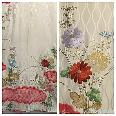 Antique FURISODE Kimono WEDDING Geisha Girl Vintage SILK KoFurisode Flower Japan