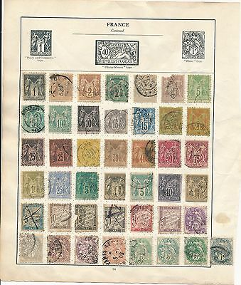 France stamp collection early to 1f one Franc value on album page