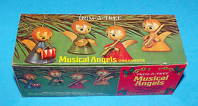 Vintage Trim-A-Tree Musical Angels Mini Hand Painted Wooden Ornaments 1975