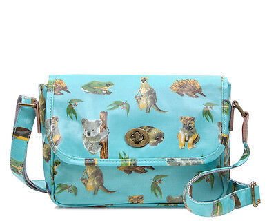 Ladies Oilcloth Crossbody Shoulder bag Australian animal print Kangaroo Koala