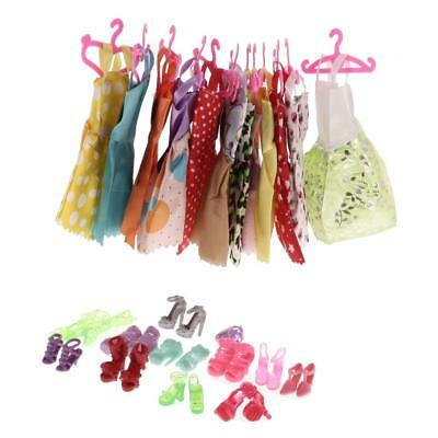 72 PIeces Dolls Clothes Dress Party Skirts Shoes Hangers for Barbie Dolls