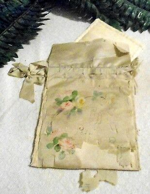 ANTIQUE 1920s HAND PAINTED ROSES WATERED SILK POWDER PUFF PURSE/COMPACT BAG RARE