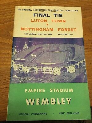 Luton Town v Nottingham Forest 1959 FA Cup Final Programme + Ticket Stub