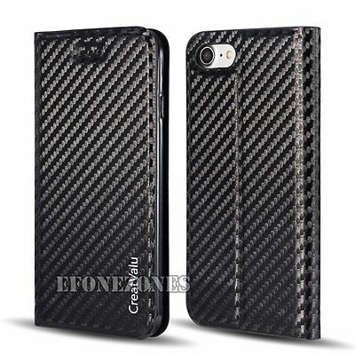 Carbon Fiber Thin Magnetic Flip Cover Wallet Leather Case For Apple iPhone Model