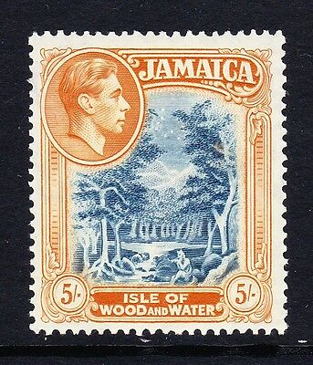 Jamaica 1938-52 5/- Slate-Blue & Yellow-Orange Perf 14 Sg 132 Mint.