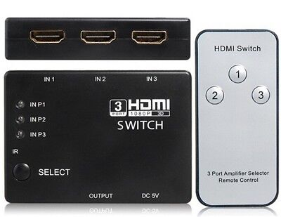 HDMI 3 Port Selector Switcher Splitter Switch Hub with Remote 1080p for HDTV PS3