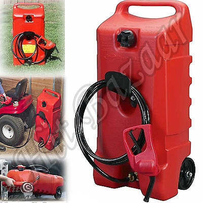 Rolling Wheel Gas Can Portable Fuel Fluid Transfer Pump Diesel Container Hose