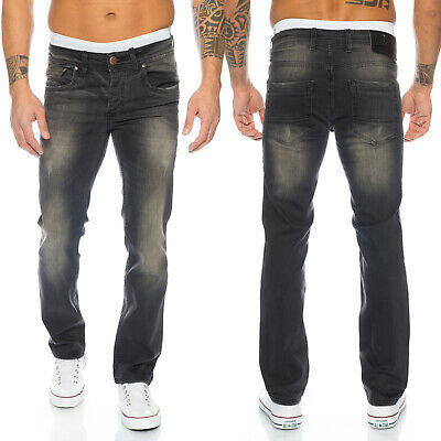 Rock Creek Herren Jeans Designer Hose Schwarz Straight-Cut Jeans Denim RC-2101