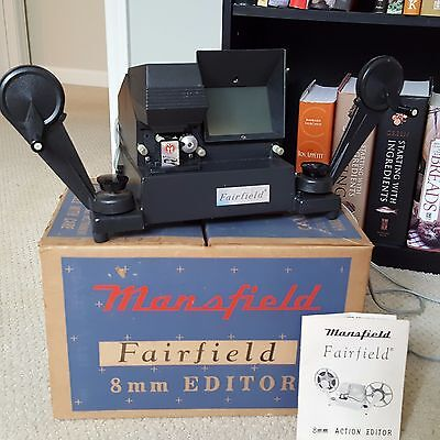 Vintage 8mm Movie Film Editor Mansfield Fairfield Model 650 Box and Manual