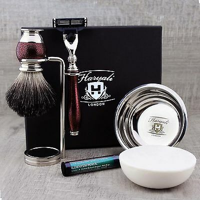 5 PIECES SHAVING SET Black Hair Brush mach3 Razor Stand & Soap GIFT MEN