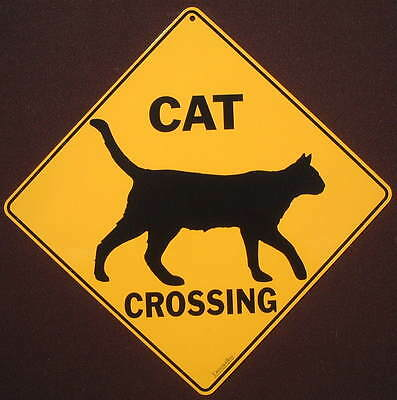 CAT CROSSING Sign silhouette print picture cats  decor  novelty home animals