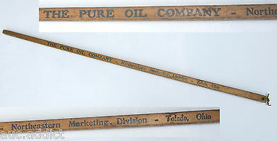 Rare OLD Antique PURE OIL Advertisng Square Walking Yard Stick Toledo OH Gas