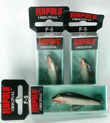 "1¢ Auction Brand New Lot of 3 2"" Rapala Original F-5 Silver Fishing Lure $3 S/H"
