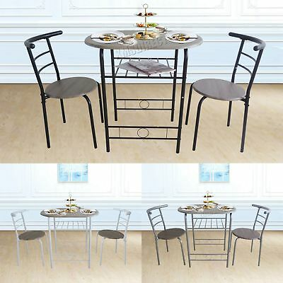 FoxHunter Compact Dining Table Breakfast Bar 2 Chair Set Metal MDF Kitchen DS06