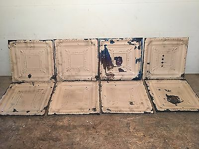 "Lot of 8 pc 12"" x 12 Antique Ceiling Tin Tile Vintage Reclaimed Salvage Art"