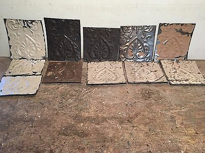 "Lot of 11 pc 8"" x var"" Antique Ceiling Tin Tile Vintage Reclaimed Salvage Art"