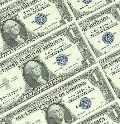 10-$1.00 1957-A Series Consecutive Choice And Gem  Blue Seal Silver Certificates