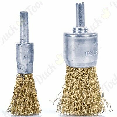 2Pc WIRE BRUSH DECARB ROTARY SET 12mm/25mm DeCoke Round Dirt Thin/Thick Cleaner
