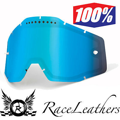 100% Percent Replacement Dual Vented Antifog Blue Mirror Lens For Mx Goggles