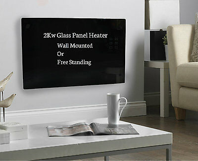 2KW Wall Mounted Free Standing Portable LCD Electric Glass Panel Heater (BLACK)