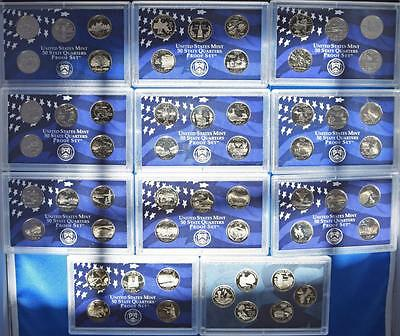 1999-2009  S  STATE AND TERRITORIES QUARTERS PROOF SETs  (56 coins)