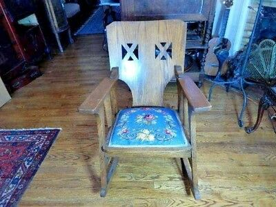 Unique Arts and Craft Solid Oak Needlepoint Rocking Chair