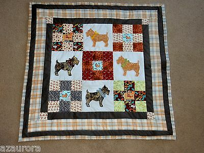 """I LUV CAIRN TERRIERS HOME MADE QUILT lap wall hanging  42"""" square scottie dog"""
