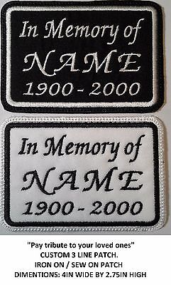 **Love It Or Its Free** In Memory Custom Name Embroidered Patch, Iron On, Free S