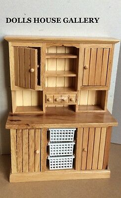 Pine Kitchen Dresser, Dolls House Miniature Furniture, 1/12 Scale
