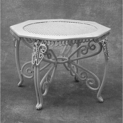 White Wire Garden Table, Dolls House Miniatures, Furniture 1.12 Scale