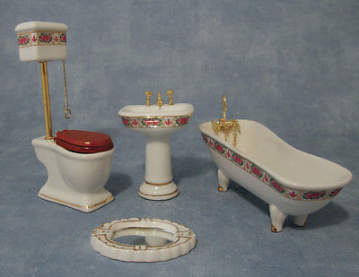 Deluxe High Level Bathroom Suite, Dolls House Miniature Set, Toilet, Bath, Sink