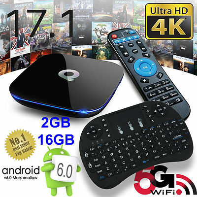 2017 Q-Box Android 6.0 TV Box K17.1 Media Player 2+16GB 5Ghz WIFI Mini Keyboard