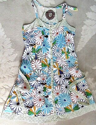 Desigual Retro Floral Cotton Hippie Boho Dress XS-8,S-10,M-12,L-14,XL-16,18-XXL