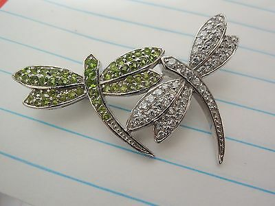 1980's Solid Sterling Two Dragonflies Brooch August Peridot clear color Topaz