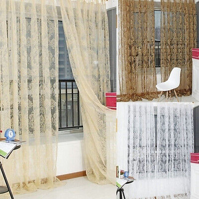 Fashion Floral voile Curtain Drape Panel Sheer Scarf Divider Door Window Decor