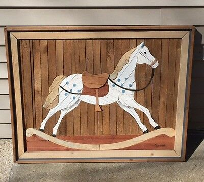 Degroot Lath Art Rocking Hobby Horse Picture Recovered Salvage Barn Wood