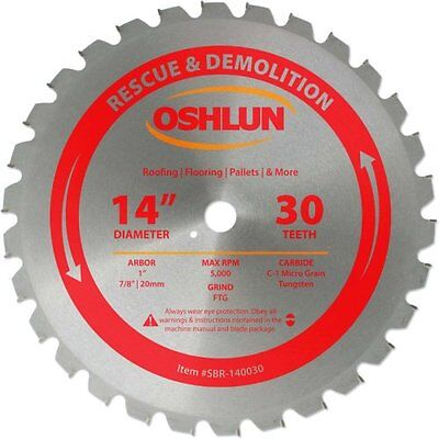 Oshlun SBR-140030 14-Inch 30 Tooth FTG Saw Blade with 1-Inch Arbor 7/8-Inch and