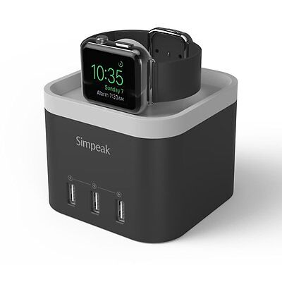 Simpeak Apple Watch Charging Stand, 4-Port USB Fast Smart Charger for Apple 2, -