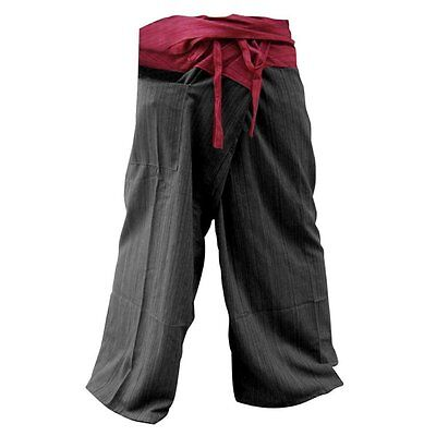 UNISEX 2 Tone Thai Fisherman Pants Yoga Trousers Free Size Cotton Red and Black