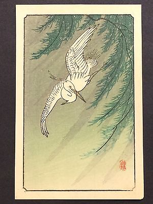 "Koson ""Egret and Willow Tree"" Japanese woodblock print c.1930s"