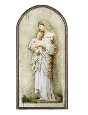 Catholic Innocence Icon Arched Wooden Wall Plaque , 15 Inch
