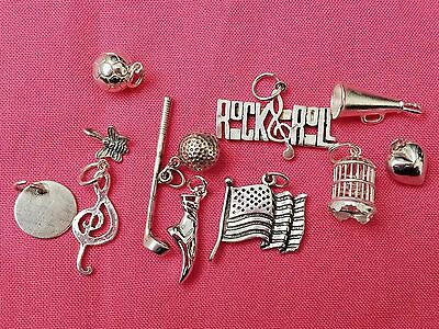 Lot of Vintage Sterling Silver Charms, Sports, Bird Cage, Flag, ETC, Jewelry