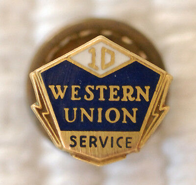 Nice Old Western Union 10Year Employee Service Award Lapel Pin