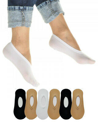 6 Pairs Women's No Show Liner Socks - White, Black, Beige Peds