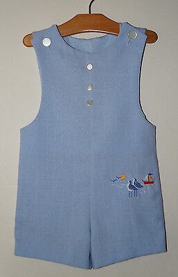 Vintage Boys One Piece SEAGULL Beach Nautical Boat Bobby Suit Romper 2t USA!