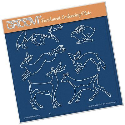 CLARITY STAMP GROOVI Parchment Embossing Plate WOODLAND ANIMALS GRO-TR-40516-03