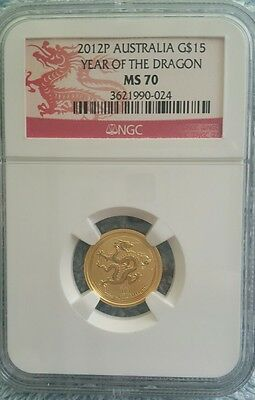 Australia 2012 Year of Dragon 15 Dollars 1/10 oz Gold NGC MS-70