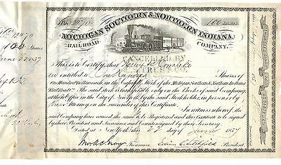 """1857 STOCK CERTIFICATE:  """"Michigan Southern & Northern Indiana Railroad Co."""""""