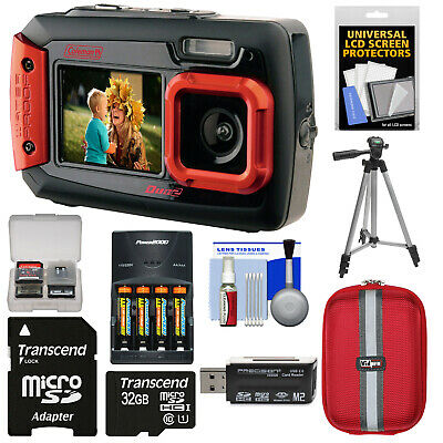 Coleman Duo 2V9WP Dual Screen Shock & Waterproof Digital Camera Kit Red