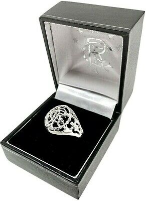 Glasgow Rangers Fc Licensed Sterling Silver Crest Ring Complete In Gift Box Rfc